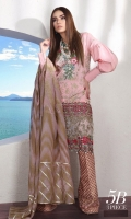 Printed front: 1.25m Printed back: 1.25m Printed sleeves: 0.65m Embroidered border on organza Embroidery neck on organza Printed cotton pants: 2.5m Printed woven net Dupattas: 2.5m