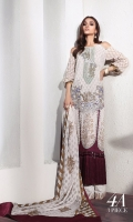 Embroidery front with print: 1 .25m Printed back: 1.25m Printed sleeves: 0.65m Embroidery neck line Printed cotton pants: 2.5m Printed jacquard Dupattas: 2.5m