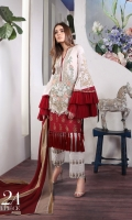 Embroidery front with print: 1.25m Printed back: 1.25m Printed sleeves: 0.65m Embroidery neck line Printed cotton pants: 2.5m Printed blend chiffon Dupattas: 2.5m