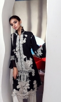 Embroidery front: 1 .25m Printed back: 1.25m Printed sleeves: 0.65m Embroidered patches on organza Printed borders Printed cotton pants: 2.5m Printed net Dupattas: 2.5m