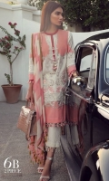 A shell pink and cream color-blocked printed lawn shirt with hints of rose gold. A fusion of floral sprays and French swirls with floral embroidered bunches on organza. Complemented with a cubic dupatta in shell pink and cream.