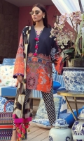 A black and orange color-blocked digitally-printed lawn shirt with a fusion of florals and Kashmiri elements. Complemented with a bold geometric dupatta and diagonally striped pants.