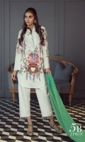 A cream color-blocked digital-print lawn shirt with a fusion of French florals and an embroidered neck on organza. Complemented by a diagonal striped dupatta in shades of green.
