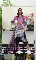 An orchid, black and cream digital-print lawn shirt with a fusion of French lace and chrysanthemums. Complemented by a bold geometric design printed chiffon dupatta.