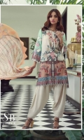 A mint, peach and cream color-blocked digital-print lawn shirt with a fusion of Indian chintz and Chinese flowers. Floral embroidered patches on organza and complemented by a Mughal inspired striped print chiffon dupatta.
