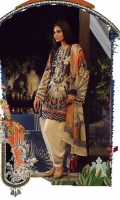 A Mehndi green and peach color-blocked digital-print lawn shirt with a Chinese disc design fusion with chevron. An embroidered neck is complemented by a digital print chiffon dupatta and dyed pants.