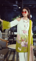 A lime and cream lawn shirt with an ombre' print accentuated with a fusion of orchid flowers and ferns embroidered on organza. Complemented by a dotted soft pink dupatta and dyed pants.