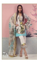 A sky blue and cream color-blocked digitally-printed lawn shirt with a fusion of florals and French ornaments. Floral embroidered bunches on organza complemented by a floral dupatta in stony beige.