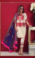 A cream and maroon lawn shirt with an embroidered front and printed back and sleeves. A fusion of French lace and florals in print and embroidery, complemented with an electric-blue bold floral and stripe edged printed chiffon dupatta and pants.