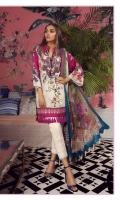 A magenta and cream color-blocked digital-print lawn shirt with a fusion of orchids and Kashmiri print design and a floral embroidered patch on organza. Complemented by a Mughal inspired digital-print chiffon dupatta with pants.