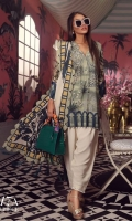 A moss green and teal printed shirt with a fusion of Mughal floral motifs and arches. Complemented by a cream and teal printed lawn dupatta and dyed pants.