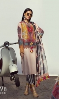 A peach and mustard color-blocked digitally-printed lawn shirt with a fusion of florals and Kashmiri elements. Complemented with a bold geometric dupatta and diagonally striped pants.
