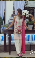 A soft pink and cream color-blocked digital-print lawn shirt with a fusion of French florals and an embroidered neck on organza. Complemented by a diagonal striped dupatta in shades of pink.