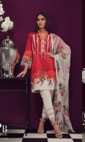 A deep-red and cream digital-print lawn shirt with a fusion of geometric and floral trellis patterns and an embroidered border on organza. Complemented by an embroidered Indian motif on a net dupatta.