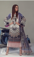 A Cream and French-blue color-blocked digital-print lawn shirt with a Chinese disc design fusion with chevron. An embroidered neck is complemented by a digital print chiffon dupatta and dyed pants.