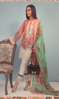 A peach and white color-blocked digitally printed lawn shirt with a fusion of Hibiscus Flowers and Kashmiri elements and a floral embroidered neck on organza and border. Complemented by a floral dupatta in mint with printed pants.