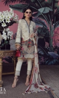 A cream lawn shirt with a gold print, a fusion of Chinoiserie and an Indian embroidered design on Beige lawn. Complemented by a Dupatta of colorful boti on cream and pants.