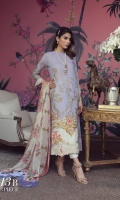 A lavender lawn shirt with a gold print, a fusion of Chinoiserie and an Indian embroidered design on cream lawn. Complemented by a Dupatta of colorful boti on cream and pants.