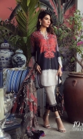 A black and ivory color-blocked digitally-printed lawn shirt with a fusion of paisleys and pearls. Complemented with a Suzani pattern dupatta in coral and dyed pants.