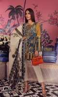A teal and mustard printed shirt with a fusion of Mughal floral motifs and arches. Complemented by a cream and green printed lawn dupatta and dyed pants.