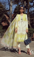 A lemon yellow and cream color-blocked printed lawn shirt with hints of rose gold. A fusion of floral sprays and French swirls with floral embroidered bunches on organza. Complemented with a cubic dupatta in yellow and cream.