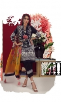 A black and cream digital-print lawn shirt with a fusion of French lace and chrysanthemums. Complemented by a bold geometric design printed chiffon dupatta.