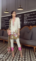 A cream embroidered front with cream back and sleeves on woven lawn with a placement of pansy flowers and a floral trellis embroidered border. Complemented by a geometric printed chiffon dupatta in olives, lavender and mint with cream pants.