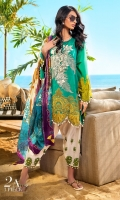 Dyed front on lawn: 1.20m Printed back on lawn: 1.20m Printed sleeves on lawn: 0.65m Embroidered bunch on organza Embroidered daman on organza Dyed pants: 2.5m Digitally printed Dupatta on silk: 2.5m