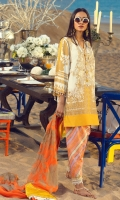 Gold Printed front on lawn: 1.20m Gold Printed back on lawn: 1.20m Gold Printed sleeves on lawn: 0.65m Embroidered neck on organza Printed pants: 2.5m Gold printed Dupatta on silver chiffon: 2.5m