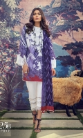 Printed front on lawn: 1.20m Printed back on lawn: 1.20m Printed sleeves on lawn: 0.65m Printed Dupatta on silver chiffon: 2.5m