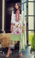 Digitally printed front on lawn: 1.20m Digitally printed back on lawn: 1.20m Digitally printed sleeves on lawn: 0.65m Embroidered neck on organza Printed pants: 2.5m Printed Dupatta on silver chiffon : 2.5m