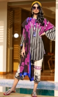 Digitally printed front on lawn: 1.20m Digitally printed back on lawn: 1.20m Digitally printed sleeves on lawn: 0.65m Printed pants: 2.5m Printed Dupatta on silver chiffon: 2.5m