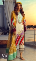 Digitally printed front on lawn: 1.20m Digitally printed back on lawn: 1.20m Digitally printed sleeves on lawn: 0.65m Embroidered bunches on organza Printed Dupatta on silver chiffon: 2.5m Dyed pants: 2.5m