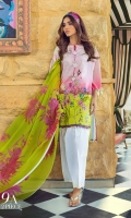 Digitally printed front on lawn: 1.20m Digitally printed back on lawn: 1.20m Digitally printed sleeves on lawn: 0.65m Embroidered bunches on organza Printed Dupatta on silver chiffon: 2.5m