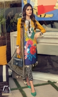 Digitally printed front on lawn: 1.20m Digitally printed back on lawn: 1.20m Digitally printed sleeves on lawn: 0.65m Embroidered neck on lawn Printed pants: 2.5m Printed Dupatta on silver chiffon: 2.5m
