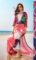 Digitally printed front on lawn: 1.20m Digitally printed back on lawn: 1.20m Digitally printed sleeves on lawn: 0.65m Embroidered neck on organza Embroidered border on organza Printed pants: 2.5m Printed Dupatta on silver chiffon: 2.5m