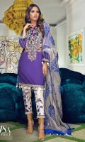 Dyed front on lawn: 1.20m Printed back on lawn: 1.20m Printed sleeves on lawn: 0.65m Embroidery on organza Printed pants: 2.5m Embroidered dupatta on Polynet: 2.5m