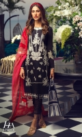 Printed front on lawn: 1.20m Printed back on lawn: 1.20m Printed sleeves on lawn: 0.65m Embroidered neck on organza Printed Dupatta on silver chiffon: 2.5m
