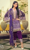 Gold Printed front on lawn: 1.20m Gold Printed back on lawn: 1.20m Gold Printed sleeves on lawn: 0.65m Embroidered border + motif on lawn Dyed pants: 2.5m Gold printed Dupatta on silver chiffon: 2.5m