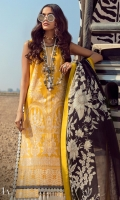 Dyed Embroidered Shirt Front On Lawn 1.10 meters Dyed Shirt Back On Lawn 1.10 meters Printed Sleeves On Lawn 0.65 meter Printed Borders On Lawn 2.5 meters Printed Dupatta On Silver Chiffon 2.5 meters Printed Pants On Cotton 2.5 meters