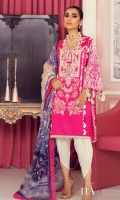 Embroidered Shirt Front On Dobby 1.15 meters Digitally Printed Shirt Back On Dobby 1.15 meters Digitally Printed Sleeves On Dobby 0.65 meter Printed Dupatta On Silver Chiffon 2.5 meters Dyed Cotton Pants 2.5 meters