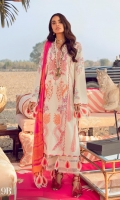 Embroidered Shirt Front Panel On Dyed Dobby 2-Embroidered Side Panels On Dobby Dyed Shirt Back On Dobby 1.10 meters Embroidered Sleeves On Dobby 0.65 meter Printed Dupatta On Silver Chiffon 2.5 meters Dyed Cotton Pants 2.5 meters