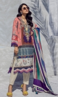 Digitally Printed Front On Lawn 1.15 meters Digitally Printed Back On Lawn 1.15 meters Digitally Printed Sleeves On Lawn 0.65 meter Printed Dupata On Silver Chiffon 2.5 meters Embroidered Neck On Organza Dyed Coton Pants 2.5 meters
