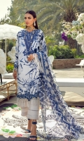 Printed Shirt Front On Lawn 1.15 meters Printed Shirt Back On Lawn 1.15 meters Printed Sleeves On Lawn 0.65 meter Embroidered Neck On Organza Embroidered Border On Organza 2.5 meters Printed Dupatta On Silver Chiffon 2.5 meters