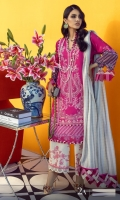 Digitally Printed Shirt Front On Lawn 1.15 meters Digitally Printed Shirt Back On Lawn 1.15 meters Digitally Printed Sleeves On Lawn 0.65 meter Embroidered Panel On Dyed Lawn Dyed Woven Zari Check Dupatta 2.5 meters Printed Pants On Cotton 2.5 meters