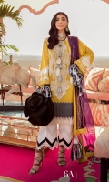 Printed Shirt Front On Lawn 1.15 meters Printed Shirt Back On Lawn 1.15 meters Printed Sleeves On Lawn 0.65 meter Embroidered Neck On Organza Printed Dupatta On Chiffon 2.5 meters