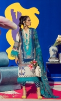 Digitally Printed Shirt Front On Lawn 1.15 meters Digitally Printed Shirt Back On Lawn 1.15 meters Digitally Printed Sleeves On Lawn 0.65 meter Printed Dupatta On Silver Chiffon 2.5 meters Embroidered Border On Organza 1 meter Printed Pants On Cotton 2.5 meters