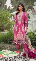 Embroidered Front On Lawn 1.15 meters Gold Printed Back On Lawn 1.15 meters Gold Printed Sleeves On Lawn 0.65 meter Digitally Printed Dupatta On Organza 2.5 meters Dyed Cotton Pants 2.5 meters