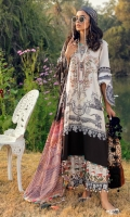 Printed Embroidered Shirt Front On Dobby 1.15 meters Printed Shirt Back On Dobby 1.15 meters Printed Sleeves On Dobby 0.65 meter Digitally Printed Dupatta On Silk 2.5 meters