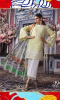 Schiffli embroidery on pure lawn front: 1.25m Printed pure lawn back: 1.25m Printed pure lawn sleeves: 0.65m Digital Printed poly silk Dupatta: 2.5m Embroidered patch on organza.  Dyed cotton pants